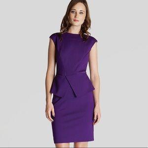 Ted Baker Purple Evvie Structured Waist Dress
